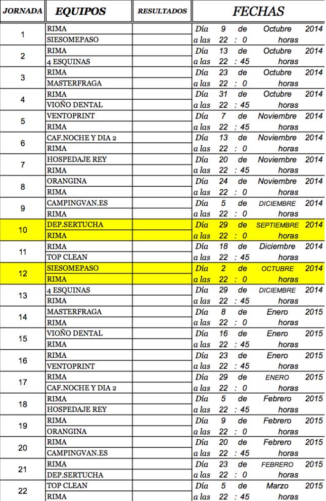 Calendario RIMA FC 14:15